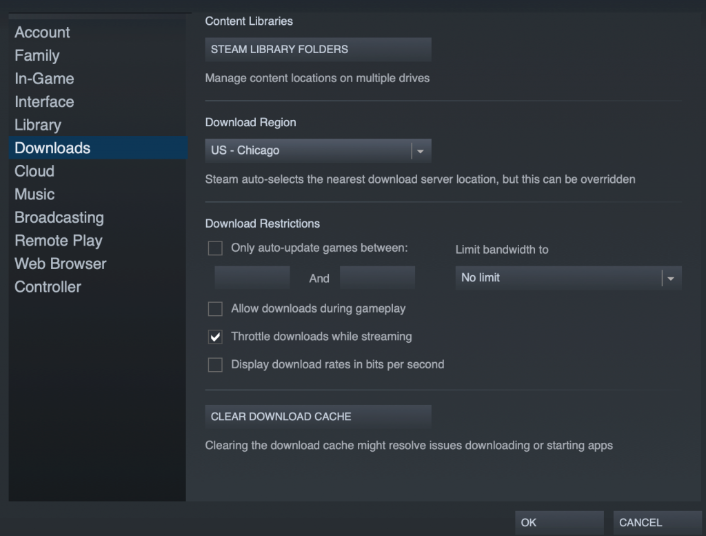 Steam Download Stopping - change your region