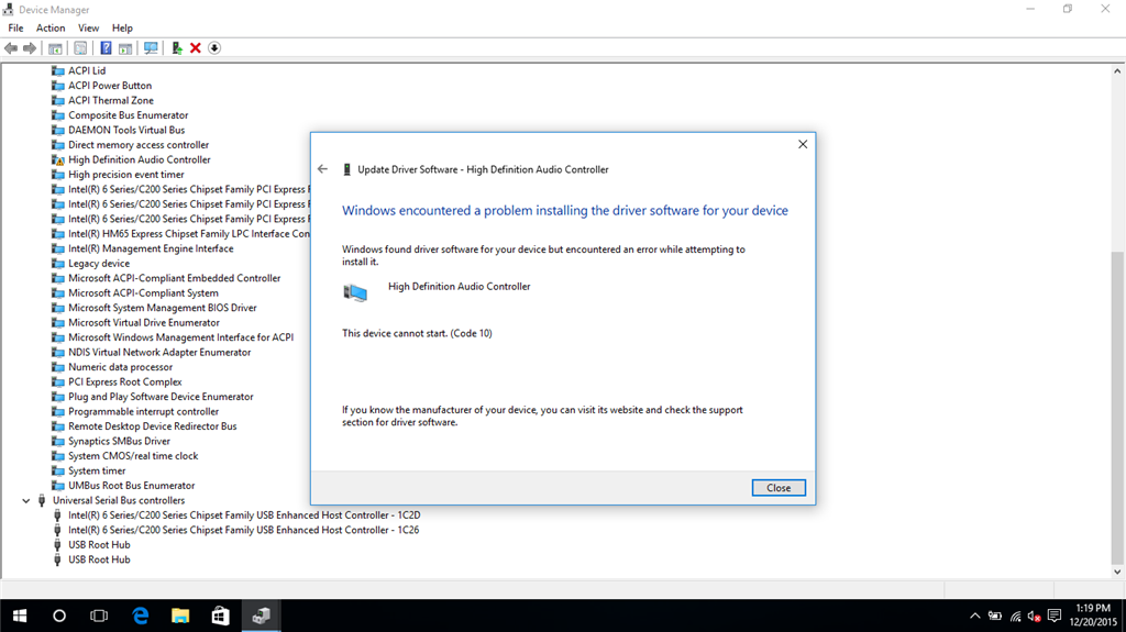 windows encountered an problem installing the driver software for your program