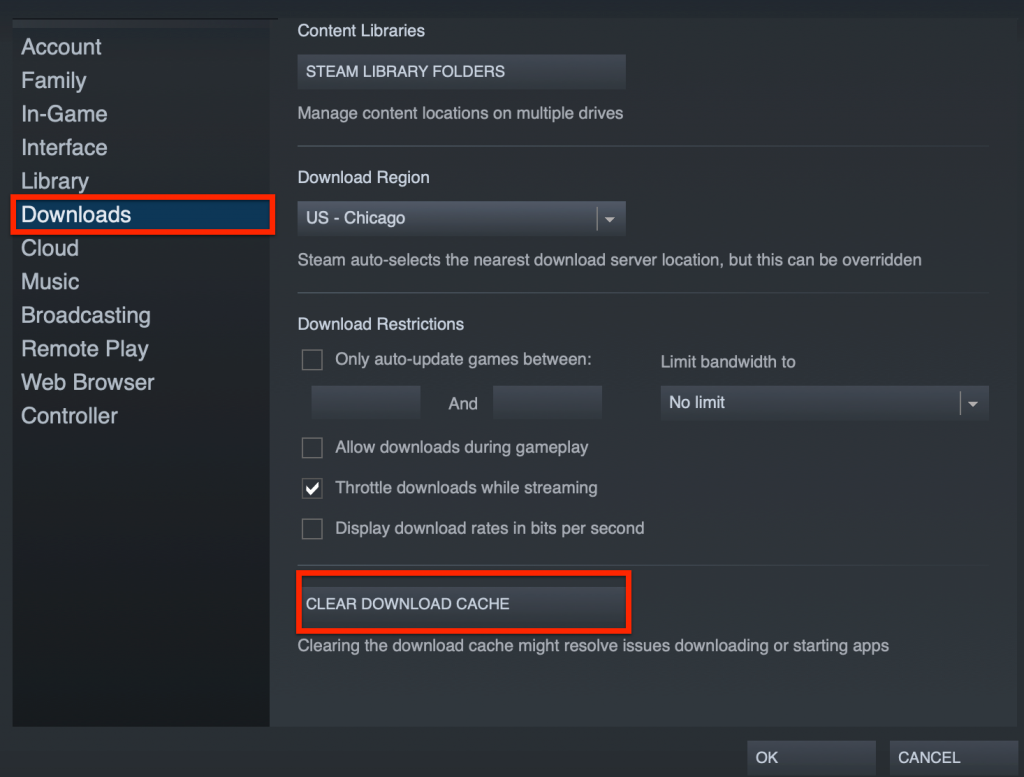 clear steam cache to resume downloading