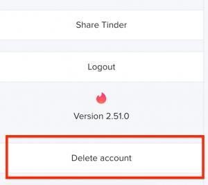 delete account button tinder website